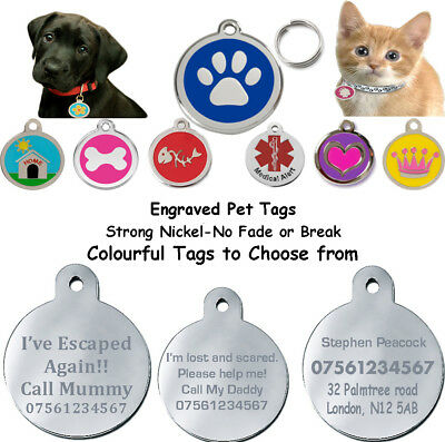Round Engraved  Id Name Disc Personalised Pet Dog Cat Tag Tags