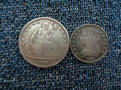 US 1839 Gobrechet $1 And 1838 Half Patterns  Silver Plated Copper Fantasy Issue!