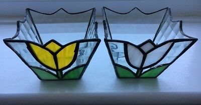2 Pretty Vintage Terrarium Leaded Coloured Tulip Stained Glass Planter Plant Pot