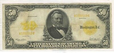 1913 United States $50 Gold Certificate.Nice Example of this Currency!
