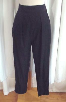 VTG 80s RALPH LAUREN Black Rayon HIGH WAIST PLEATED 1980s Tapered PANTS 4 or S