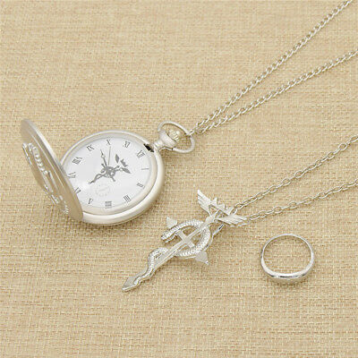 Full Metal Alchemist Silver Pocket Watch Necklace and Ring Japan Anime Cosplay