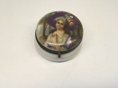 Antique German Porcelain Hinged Ring Box With Lady Portrait