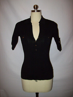 cad07a24 SEXY CACHE BLACK Stretch/Knit Snap Front Top/Blouse/Shirt Sz.S ...