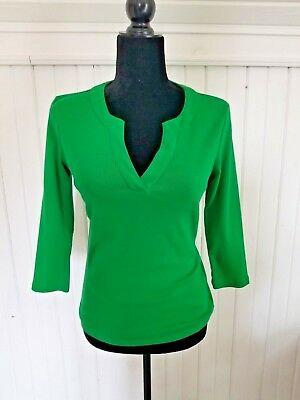 "Womens ANN TAYLOR Green 3/4"" long sleeve casual shirt Fabric %100 cotton small"