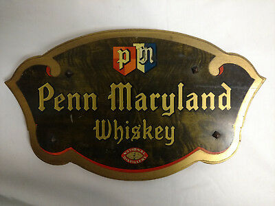 Beautiful Penn Maryland Wood/metal Bourbon Rye Whiskey Sign National Distillers