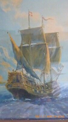 Vintage Clipper Ship with Swiss flag In Ocean Framed Oil On Canvas Painting