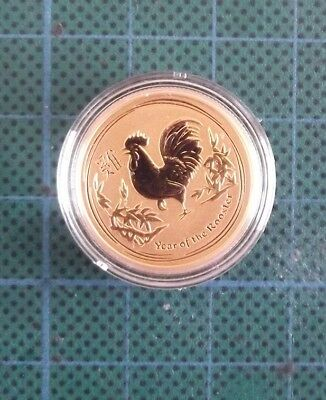1/4 Oz 2017 Perth Mint Gold Lunar series, Year of the Rooster, BU.