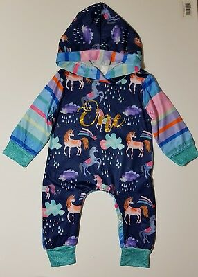 Baby Girls First 1st Birthday romper Outfit Unicorn  party Cake Smash Photoshoot