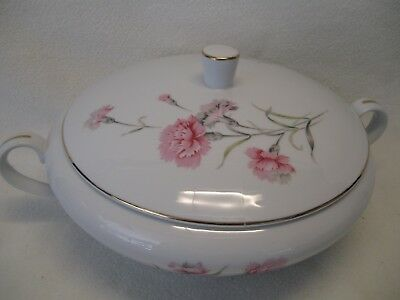 "Royal Court Fine China of Japan Carnation Covered Vegetable Bowl 7 5/8"" Opening"