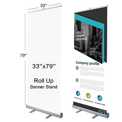 """T-Sign 33"""" x 79"""" Retractable Roll Up Banner Stand With Traveling Bag for Trade"""