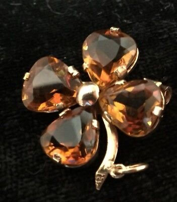 Vintage 18k Yellow Gold & Citrine four leaf clover Pendant & Brooch