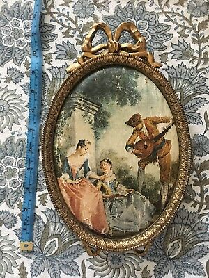 Charming Old Ornate Italian Picture Frame With Silk Painting