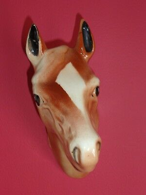 "Vintage  Ceramic 8"" Horse Head Wall Hanger Plaque  Pottery Ceramics"