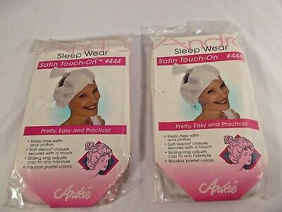 Two Andre 444 Satin Touch-on Sleep night cap protect hairstyle pink & white
