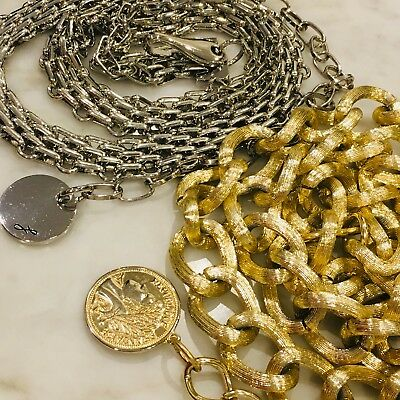 Lot Of 2 Vintage To Now Goldtone & Silver Chain Belt Size Small To Medium
