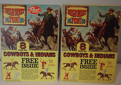 Vintage Post Cowboys & Indians Back Of Cereal Box 2 Paste Ups