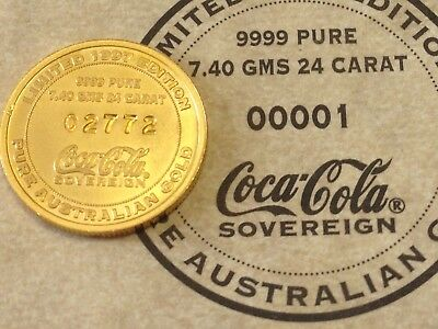 Limited Edition Coca Cola 24 Carat Gold Sovereign Coin