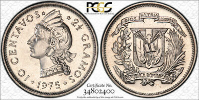1975 Dominican Republic 10 Centavos PCGS SP66 - Extremely Rare Kings Norton Mint