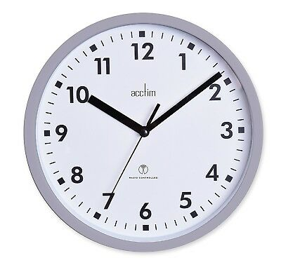 Radio Controlled Wall Clock Home Office Kitchen 20cm Accurate Top Quality White