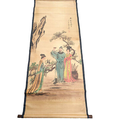 Chinese Hanging Draw Hand-Painted Garden Drinking Calligraphy Scroll Painting