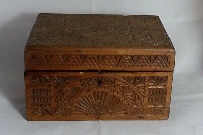 Beautiful Carved Vintage Wooden Storage Box