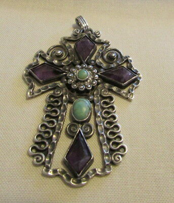 Vintage Sterling Silver Cross with Amethyst and Turquoise from Mexico