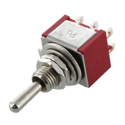 5X(Mini Toggle Switch DPDT ON-ON Two Position Red 2A 250V 5A 120V W9V2)