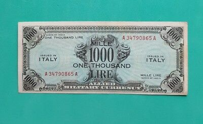 1000 Am Lire Bilingue Occupazione Americana In Italia Decr 1943  Spl-
