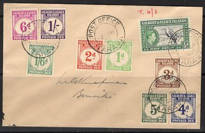 Gilbert & Ellice Is. Sgd1/8 1940 Postage Due Set Fine Used On Cover