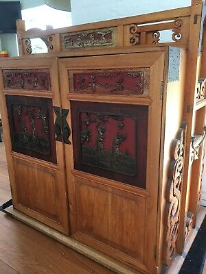 Asian Furniture Wedding Carrying Cabinet/Chinese Dowry w Antique Carved Panels
