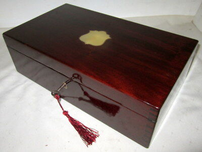SUPERB  SIZE (35cms wide) ANTIQUE SOLID MAHOGANY & BRASS BOX secure lock & key