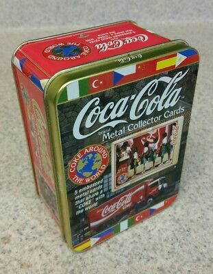 COCA-COLA International METAL Collector Cards TIN (5) Embossed SEALED  BRAND NEW