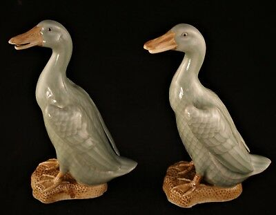 A Pair of Vintage Chinese Celadon Ducks