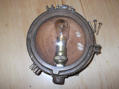 Vintage Small Bronze Ship Bulkhead Light