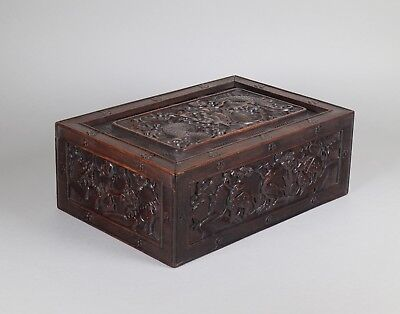 Antique c.1900 Chinese Hardwood Box with Sliding Cover