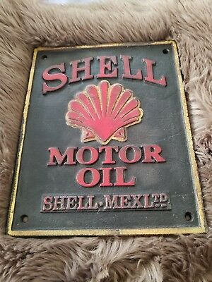 Shell Motor Oil Cast Iron Sign made in london 1932 stamped on back wow how cool