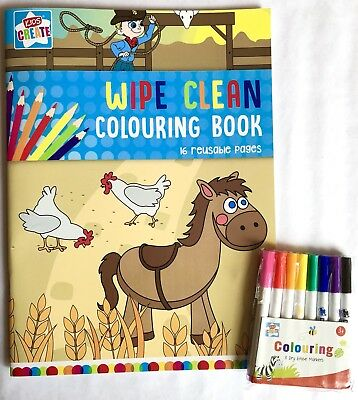 A4 Wipe Clean Colouring Book With Dry Erase Markers Pens Kids Children Activity
