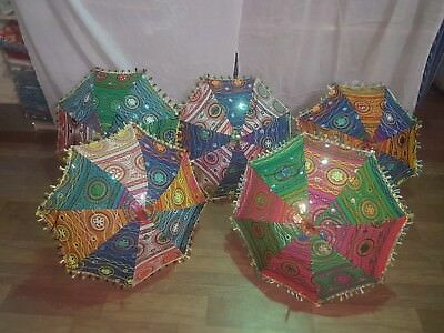 Set of 5 Vintage umbrella handmade banjara sun protective cotton Indian parasols