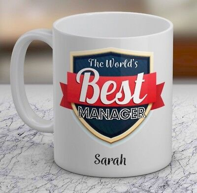 The Worlds Best Manager Personalised Gift Mug Add Name Job Text Cup Boss Title