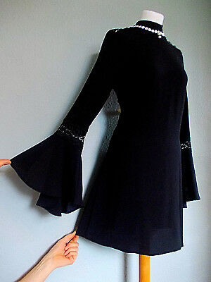 Vintage 60's Style Size 12 Mod PSYCH Scooter BELL Sleeved VICTORIANA Dress 12