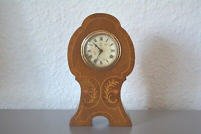 Antique Edwardian HAC inlaid mantle clock. Germany. Working order.