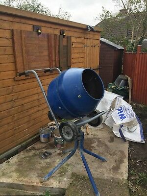 used electric 240 volt cement mixer macallister c/w stand and wheels