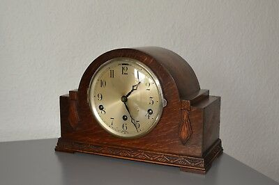 Antique mantle clock. English made. Westminster chimes. Working. Hand - carved