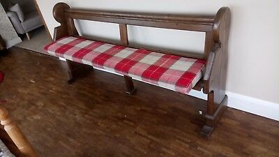 Church pew style wooden bench with removable Cushion.