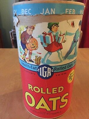 Vintage IGA Rolled Oats container (GREAT GRAPHICS) bought out by quaker oats
