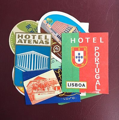 13 European Hotel Labels Original- Vintage