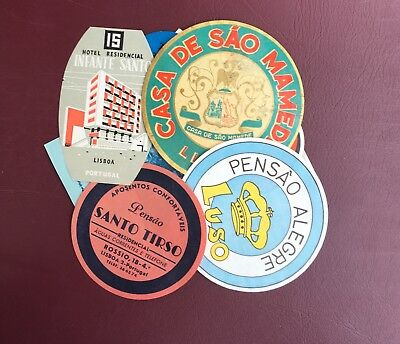 17 European Hotel Labels Original- Vintage