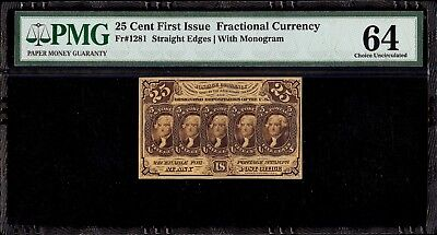 US Fractional Currency 25c First Issue PMG 64 Choice Uncirculated