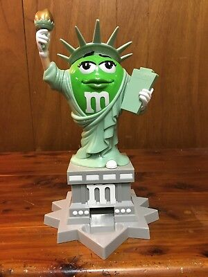 "M&M Green Statue Of Liberty Lady 11"" Plastic Candy Dispenser"